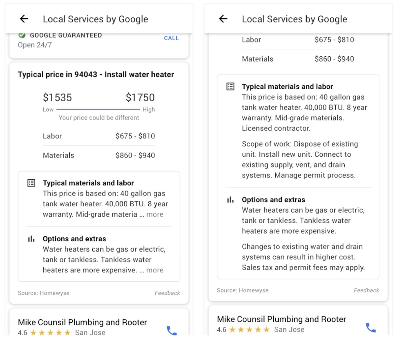 screenshot of pricing tip card